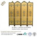 Modern Foldable Screen Divider Pine Air Brush Plywood With Gold Foil Foldable Room Partitions