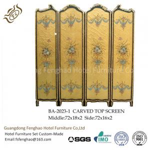 China Modern Foldable Screen Divider Pine Air Brush Plywood With Gold Foil Foldable Room Partitions on sale