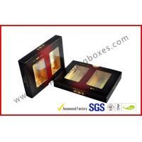 Matt Varnish Foil Paper Cigar Gift Box With Golden / Cigar Gift Sets