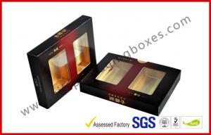 China Matt Varnish Foil Paper Cigar Gift Box With Golden / Cigar Gift Sets on sale