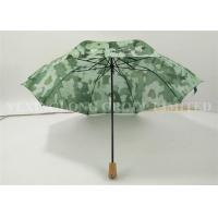 China Ladies Automatic Folding Umbrellas , Wooden Handle Umbrella Nature Green Painted on sale