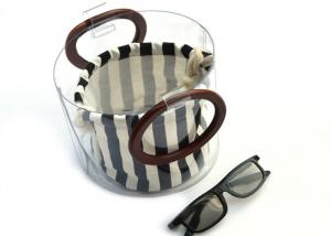 China Canvas Round Shape Navy Blue Clutch Bag Stripe Pattern With Wood Handle 0.8 MM on sale