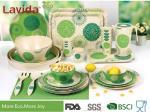 Green Color Bamboo Fiber Dinnerware , Waterproof Non - Odor Bamboo Fiber Dishes