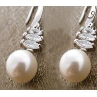 Fashion Sterling silver jewelry dangle silver gemstone earring with pearl