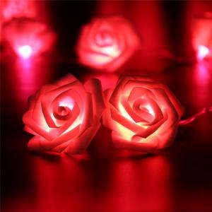 China Fashion Holiday Lighting 20 LED Novelty Rose Flower Fairy String Lights Wedding Garden Party Valentine's Day on sale