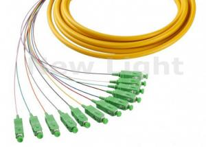China 1 Meter Fiber Optic Jumper Cables SM Simplex SC APC 12 Core Fanout Fiber Optic Pigtails on sale