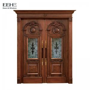 China Anti Corrosive Luxury External Hardwood Front Doors With Double Glass Panels on sale