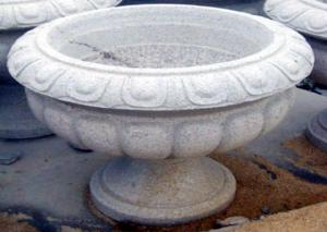 China White Stone Garden Sculptures Carved Large Granite Flower Pots For Backyard Ornaments on sale