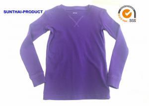 China Grape Color Childrens Plain Long Sleeve T Shirts 220GSM 100% Cotton Rib Crew Neck Rib on sale