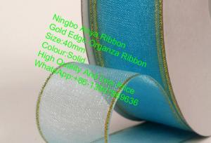 China Gold Edge Organza Ribbon,Gift Ribbon,Organza ribbon,fashion ribbon,silk Organza,Clothing Accessories on sale