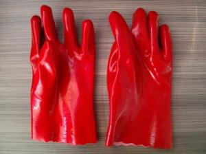 China Red PVC anti-skidding industrial gloves working gloves on sale