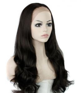 China Natural Straight Heat Resistant Fiber Synthetic Hair Wigs Lace Front With Dark Brown on sale