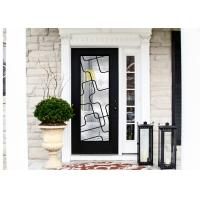 China Natural Lighting Elegant Inlaid Wrought Iron Door Glass For Building Hand Forged Dignified on sale
