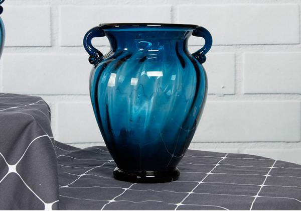 Solid Custom Big Glass Vase Decoration Hotel Blue Handmade Glass