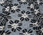Black / White Knitted Elastic Lace Fabric For Lady Garment Sunflower Pattern CY-DK0008