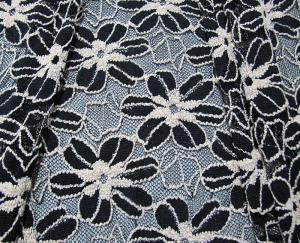66842d3e47db ... Quality Black / White Knitted Elastic Lace Fabric For Lady Garment  Sunflower Pattern CY for sale ...