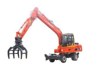 China Red 16 ton YGL160 Hydraulic Tyre Excavator with grapple for log handling on sale