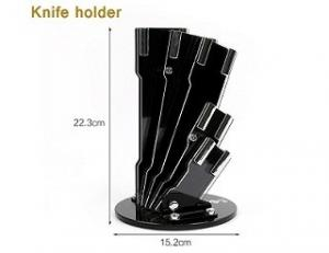 China Stainless Steel 6pcs Kitchen Knife Set With Wooden Handle and Knife Block on sale
