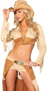 China Wholesale Country Girl Costume Ravishing Rancher Cowgirl for Halloween in Brown Micro Suede with size XXS to XXXL on sale