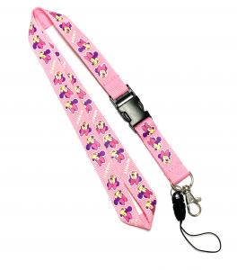 China Disney Cute Pink Mickey Detachable Cell Phone Holder Lanyard With Silk Screen Print on sale