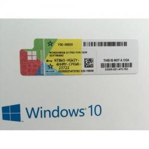China Windows10 Pro Coa License Sticker FQC 08922 Global Area Online Activation on sale