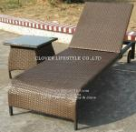 Flat wicker or textilene sun lounger for Hotel, Garden and Beach by Clover Lifestyle Outdoor Furniture China