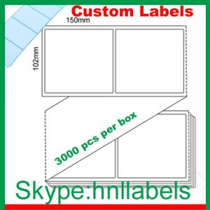 China Thermal Transfer Labels 102mmX150mm/1 Plain Transfer Fanfold Permanent, 3,000 per box on sale
