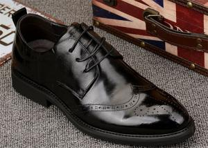 China Popular Mens Black Leather Formal Shoes , Wingtips Toe Mens Smart Dress Shoes on sale