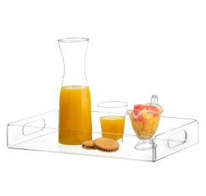 China High Transparent Acrylic Food Serving Trays With Handle SGS ISO on sale