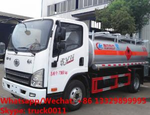 China 2018s best price FAW brand 4*2 RHD 7,000Liters fuel dispensing truck, oil bowser vehicle, refueler tuck for sale on sale