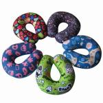 Custom print travel pillow,airplane neck suppport and rest pillow,horseshoe beads pillow