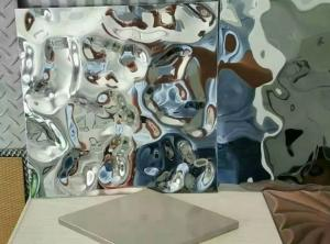 China Water Wave Shaped Stainless Steel Panels Rose Gold Mirror Finish For Hotels Villa Lobby Interior Decoration on sale