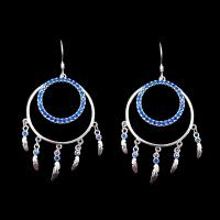 American Indian Style Blue Zircon  Hanging Silver Drop Earrings For Wedding