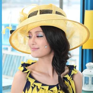 China Custom Color Women Ladies Sinamay Hats with Beautiful Feather For Church on sale