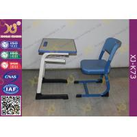 Wooden Single And Double Student Desk And Chair Set Steel Frame