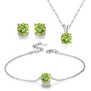 China 925 Silver Natural Stone Jewelry Set Women's Chain Necklace Bracelet Earrings on sale