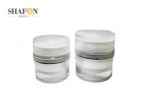 China Skin Care Clear Cream Cosmetic Jar Blue / White Color Korean Style Round Design on sale