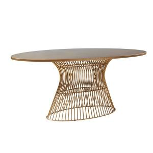 China Real Wood Oval Coffee Table 70W*38.25D*30H With Golden Bronze Metal Base on sale