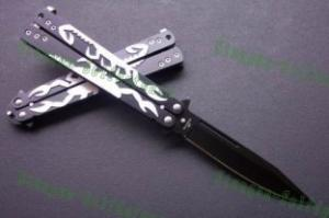 Quality black scorpion steel butterfly pocket knife for sale