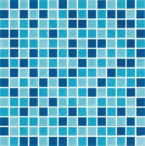 China Mosaico de cristal del vidrio de la base del proyecto del mosaico de la piscina de la mezcla azul FM002 on sale