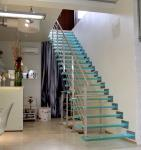 Customized Invisible Stringer Tempered Glass Treads Floating Stairs