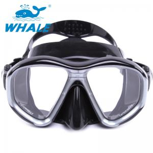 China Tempered Glass Diving Mask with Silicon Mouth Piece , Crystal Clear View on sale