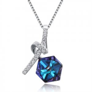 China Luxury Blue Crystal Pendant Jewelry Pave Zircon Diamond 925 Sterling Silver Necklace For Ladies on sale