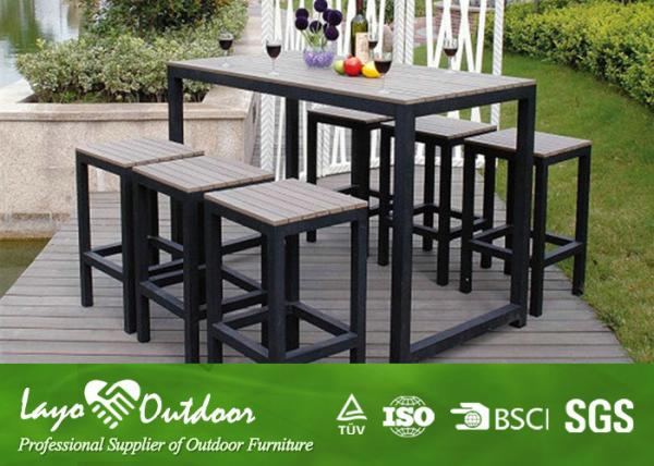 Synthetic Wood Outdoor Furniture Faux Patio Dining Set With Relax Style Bar Images
