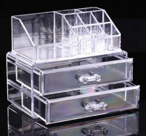 China Clear Cosmetic Jewellery Display Makeup Rack Organiser Box Case 2 Storage Drawer on sale