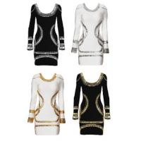 Long Sleeve Hot Sale Gold and Sliver Stripe Embellished High Quality Wholesale Bodycon New Popular Design Bandage Dress