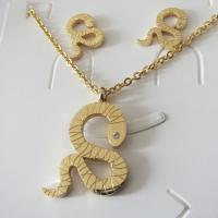 Gold Snake Design Pendant and Earrings Jewelry Sets