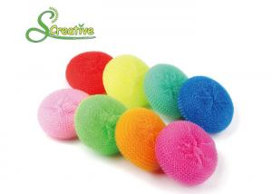 China 8g Colorful Plastic Mesh Scouring Pads For Non Stick Pan Strong Cleaning on sale