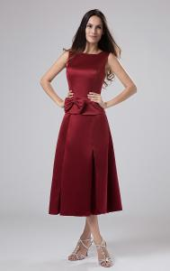China Ankle Length Scoop Neck Satin Burgundy Bride Mothers Wedding Dresses with Bow on sale