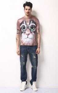 China 100% Polyester 3D Animal T Shirts, Custom 3D Print Shirts140-230gsm Fabric on sale